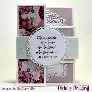 Divinity Designs Stamp/Die Duos: Friend to Friend, Custom Dies: Half-Shutter Card with Layers, Belly Band, Circles, Pierced Circles, Fancy Circles, Pierced Rectangles, Filigree Rectangles, Embossing Folder: Flourishes, Paper Collection: Romantic Roses