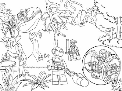 Tyrannosaurus dinosaurs park science fiction movie Lego Jurassic world colouring page for youngsters