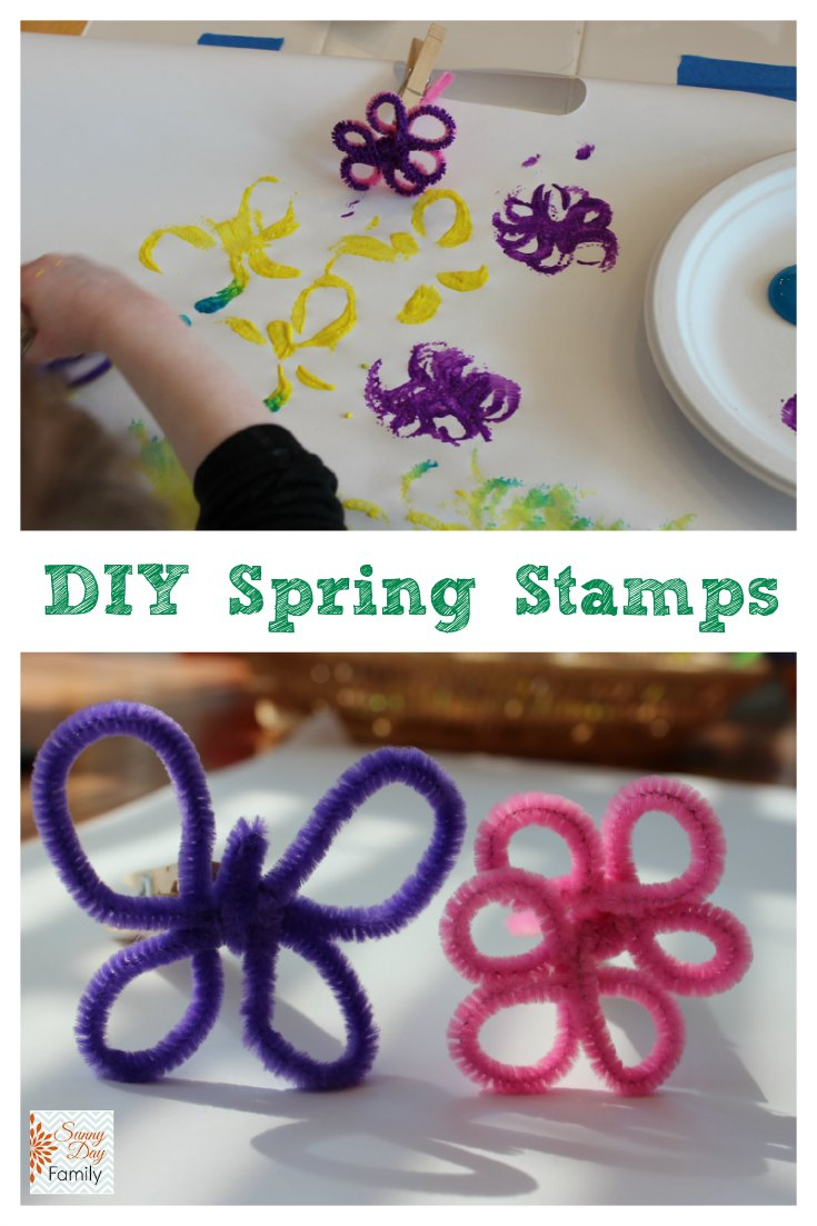 DIY Spring stamp craft. Make a butterfly and flower shape from pipe cleaners to use as stamps for painting.
