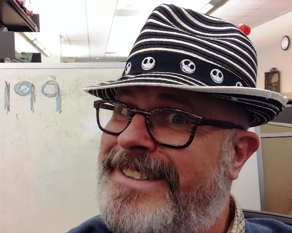 26ade54d0d524 Day 199   Hat 199  Black-and-white-striped woven fedora with black  grosgrain hatband screen-printed with the smiling visage of Jack Skellington  from
