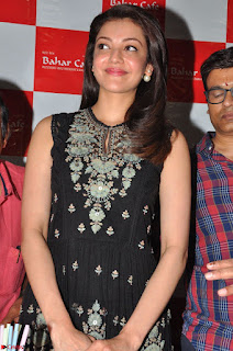 Kajal Aggarwal in lovely Black Sleeveless Anarlaki Dress in Hyderabad at Launch of Bahar Cafe at Madinaguda 012.JPG