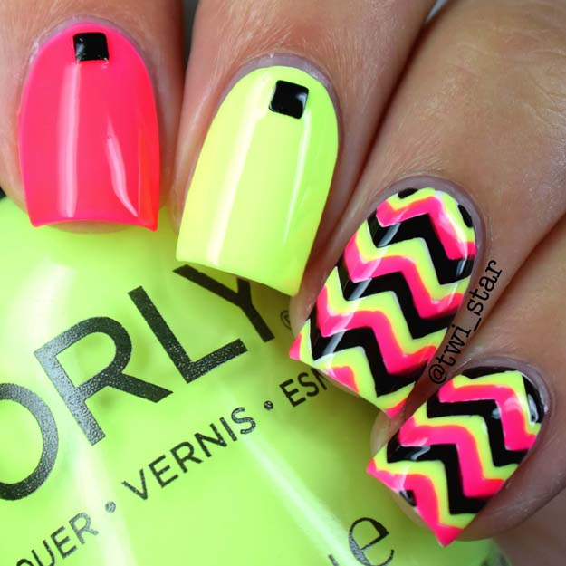 Neon Chevron nails featuring Orly Passion Fruit and Key Lime Twist
