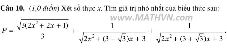 câu 10 trong đề minh họa môn toán