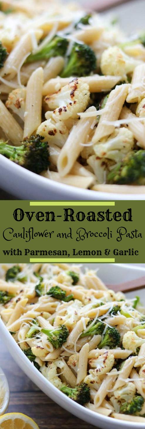 Roasted Broccoli and Cauliflower Pasta with Parmesan, Lemon and Garlic #vegetarian #recipe