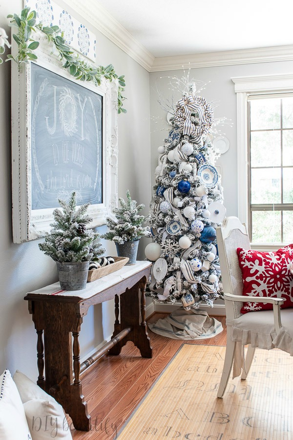 frosty blue and white decor
