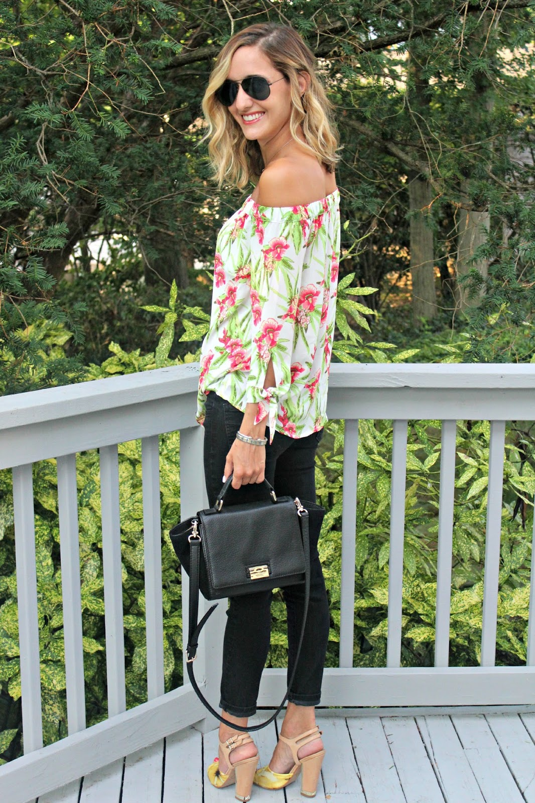 off the shoulder transitional outfit