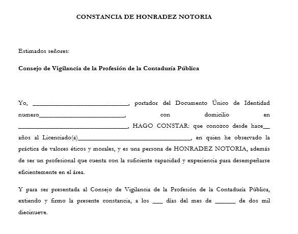 Modelo de Carta de Honradez Notoria para presentar ante el Consejo de Vigilancia de la Profesión de la Contaduría Pública y Auditoría