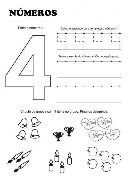 clube da cor atividades escolares atividades com o nÚmero 4 para