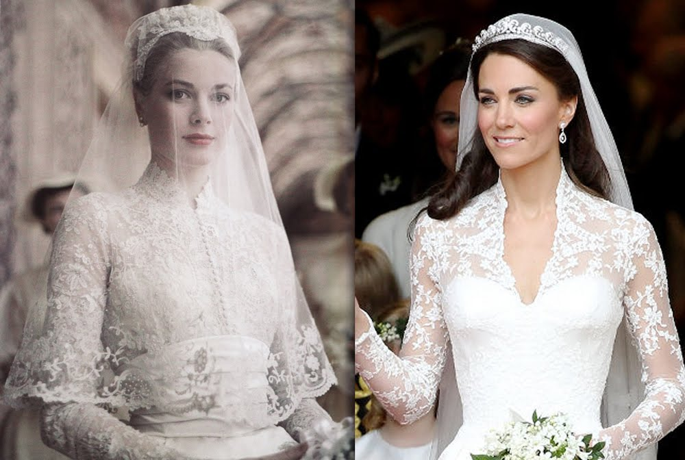 grace kelly and kate%2Bmiddleton wedding dress 2 - Royal Wedding Details