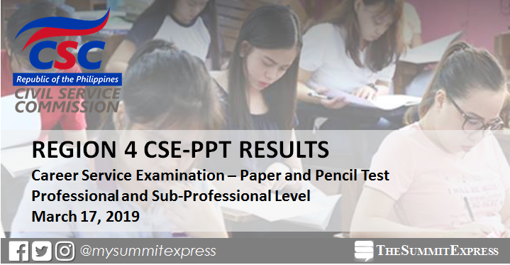 LIST OF PASSERS: Region 4 March 2019 Civil service exam result CSE-PPT