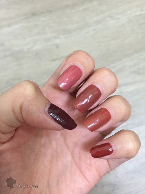 3ce指甲油-秋冬系列-MOOD RECIPE LONG LASTING NAIL LACQUER-比較