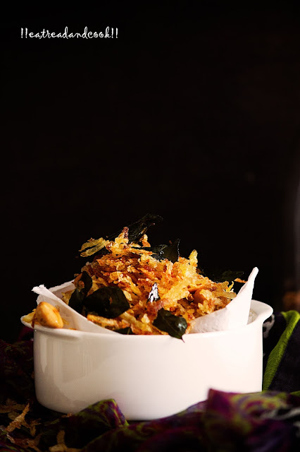 how to make Kari Pata r Badam Diye Alur Jhuri Bhaja / Jhiiri Jhiri Alu Bhaja recipe / Shredded Potato Fries with Curry Leaves and Peanuts recipe and preparation