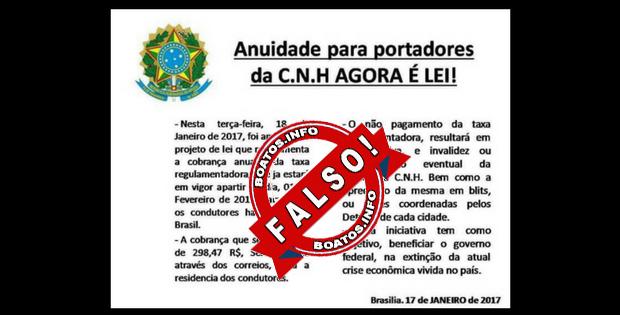 Anuidade para portadores da C.N.H agora é lei: Mentira
