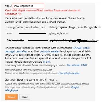 Menambah domain pada blogger