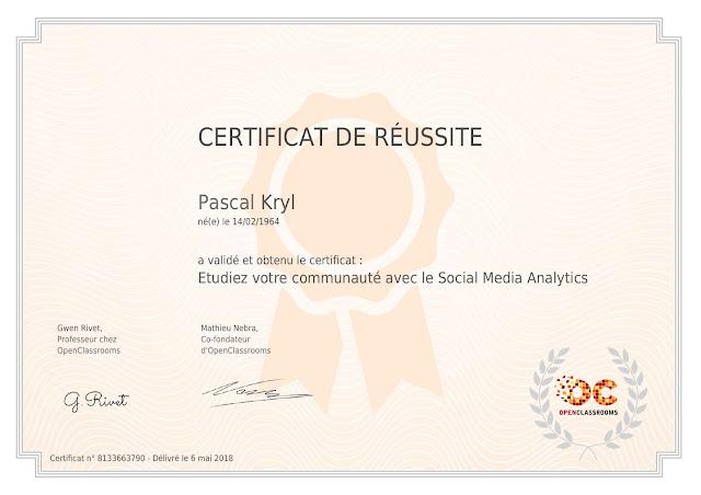 """Certificat """"Étudiez votre communauté avec le Social Media Analytics"""""""