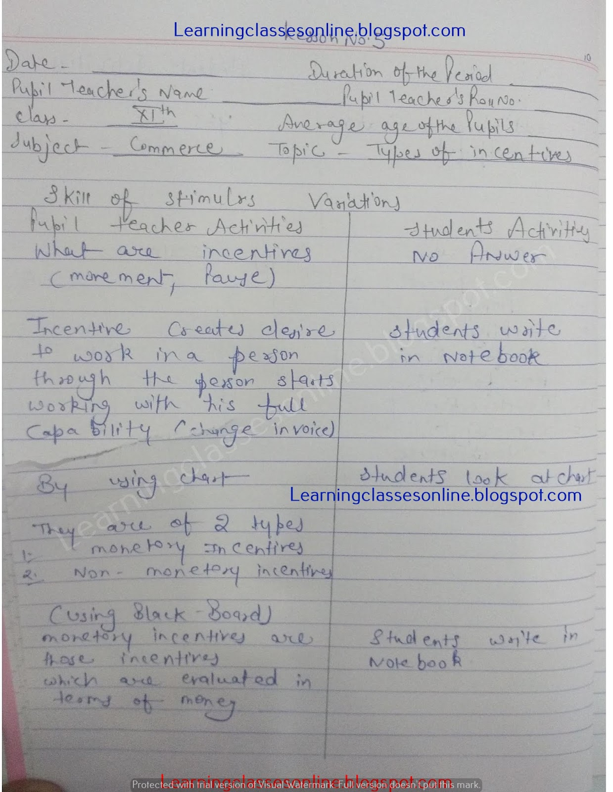 skill of reinforcement micro teaching commerce lesson plan for class 11 and B.Ed