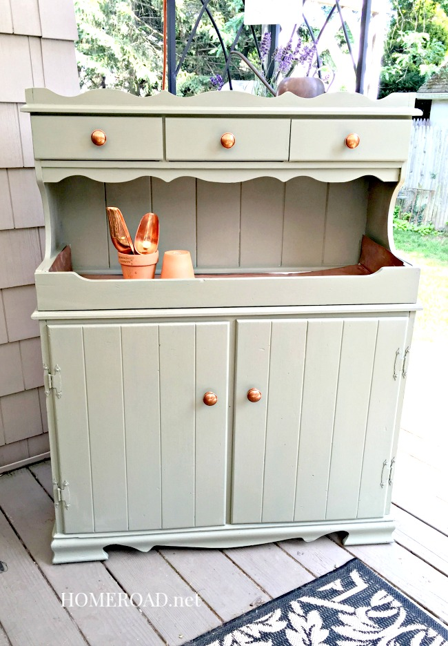 A Vintage Copper Hutch Potting Bench  with accessories
