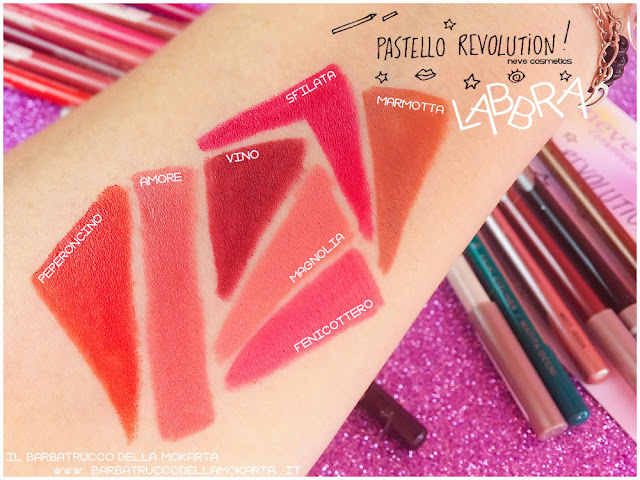 BioPastello Neve Cosmetics  pastello revolution labbra swatches