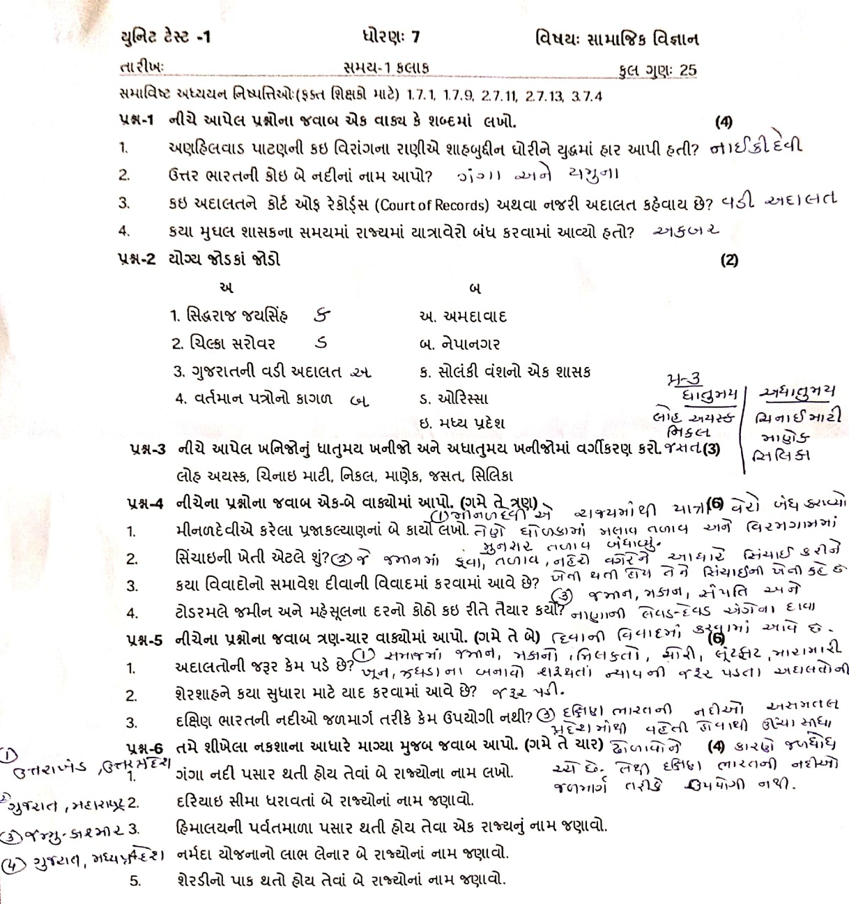 NILESH JADAV: STD- 6 TO 8 SOCIAL SCIENCE SUBJECT UNIT TEST