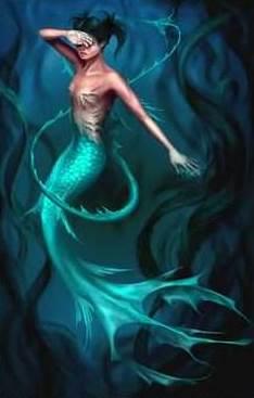 Imagen de una sirena dentro del mar
