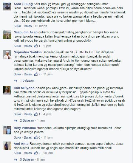 Komentar Negatif  Natizen tentang  Cerita pengakuan  Ahok Soal Stok Bir dan Miras di Rumahnya
