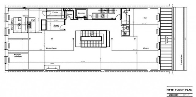 Floor plan of the fifth floor in the Tribeca triplex