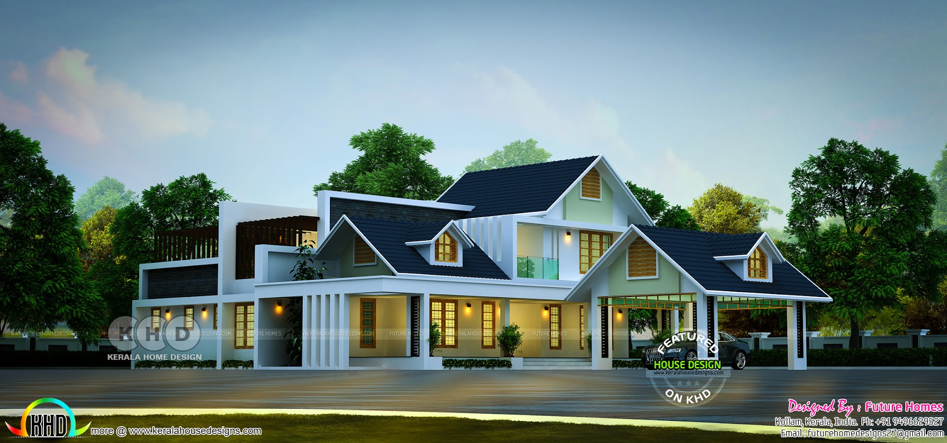 Sloping Roof Contemporary Style Stunning House Kerala Home Design And Floor Plans 8000 Houses
