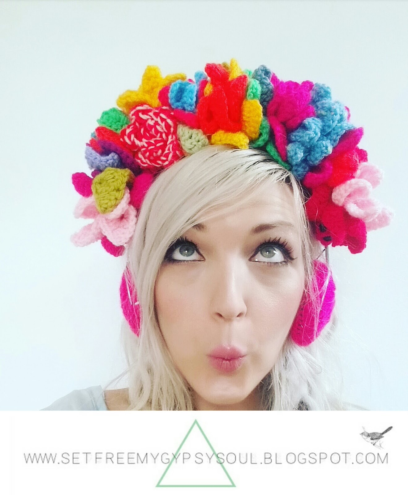 free crochet pattern flower crown headphones boho chic festival style hippie floral