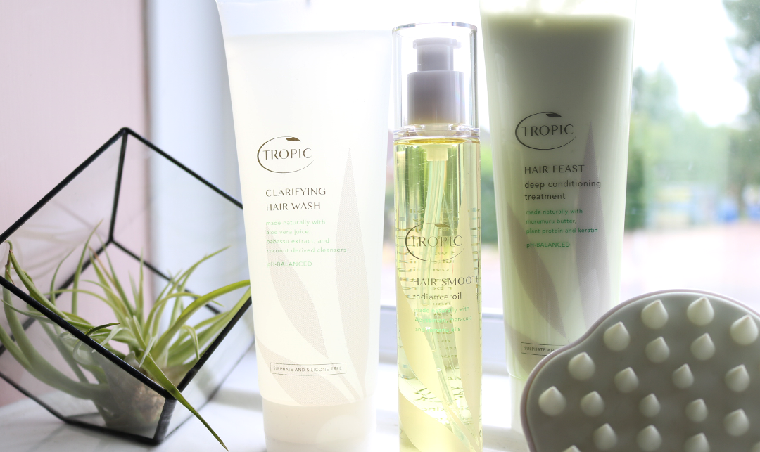 Tropic Clarifying Hair Wash, Hair Smooth Radiance Oil, Hair Feast Deep Conditioning Treatment & Scalp Massager review