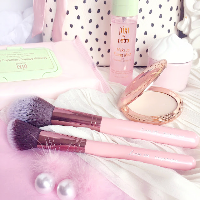 Luxie Pink Makeup Brushes | 520 Tapered Face Brush & 504 Large Angled Brush