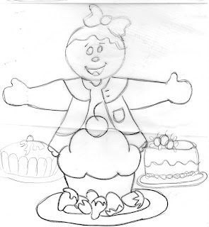 risco de boneca ginger com bolos