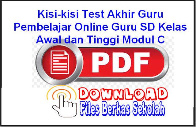 Download Kisi-kisi Test Akhir Guru Pembelajar Online Guru SD Kelas Awal dan Tinggi Modul C