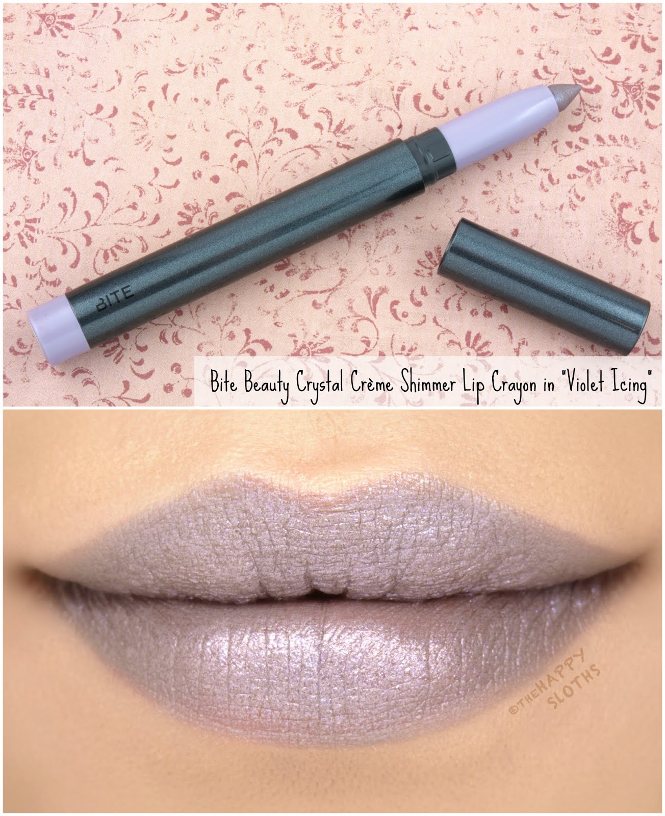 "Bite Beauty | Crystal Crème Shimmer Lip Crayon in ""Violet Icing"": Review and Swatches"