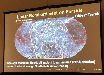 Correlating lunar crater size with proposed asteroid size at time of Lunar Bombardment (Source: COSPAR/Bottke)
