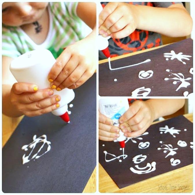 salt and glue fireworks 4th of July kid craft