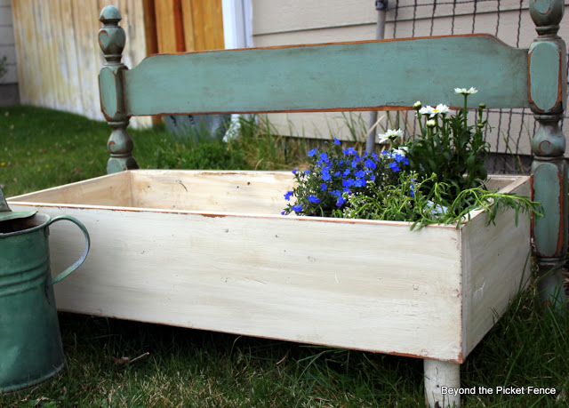spring flowers, repurposed, gardening, planter ideas, old headboard, flower bed, beyond the picket fence, http://bec4-beyondthepicketfence.blogspot.com/2013/06/planter-parade.html