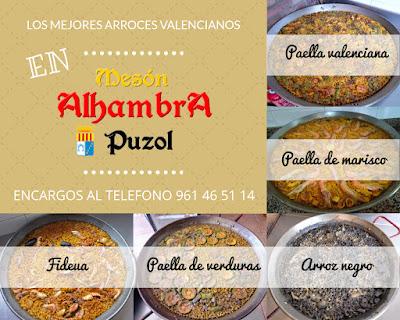 Disfruta de los mejores arroces valencianos por encargo en Mesón Alhambra Puzol