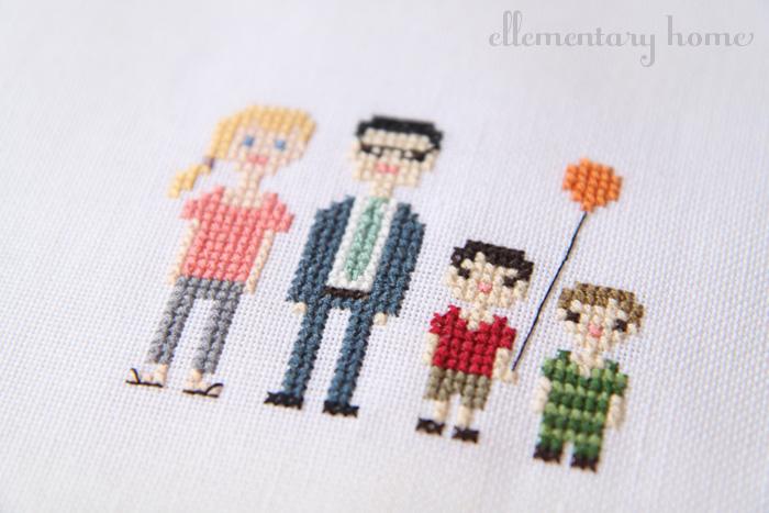 Ellementary Home: Cross-Stitch Family Portrait