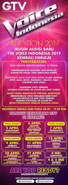 tempat dan jadwal pendaftaran The Voice Indonesia 2019