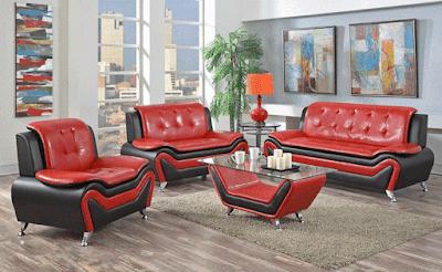 Udell Red Black Modern Living Room Sofa Furniture