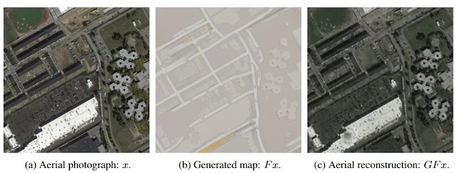 The original map, left; the street map generated from the original, center; and the aerial map generated only from the street map. Note the presence of dots on both aerial maps not represented on the street map.