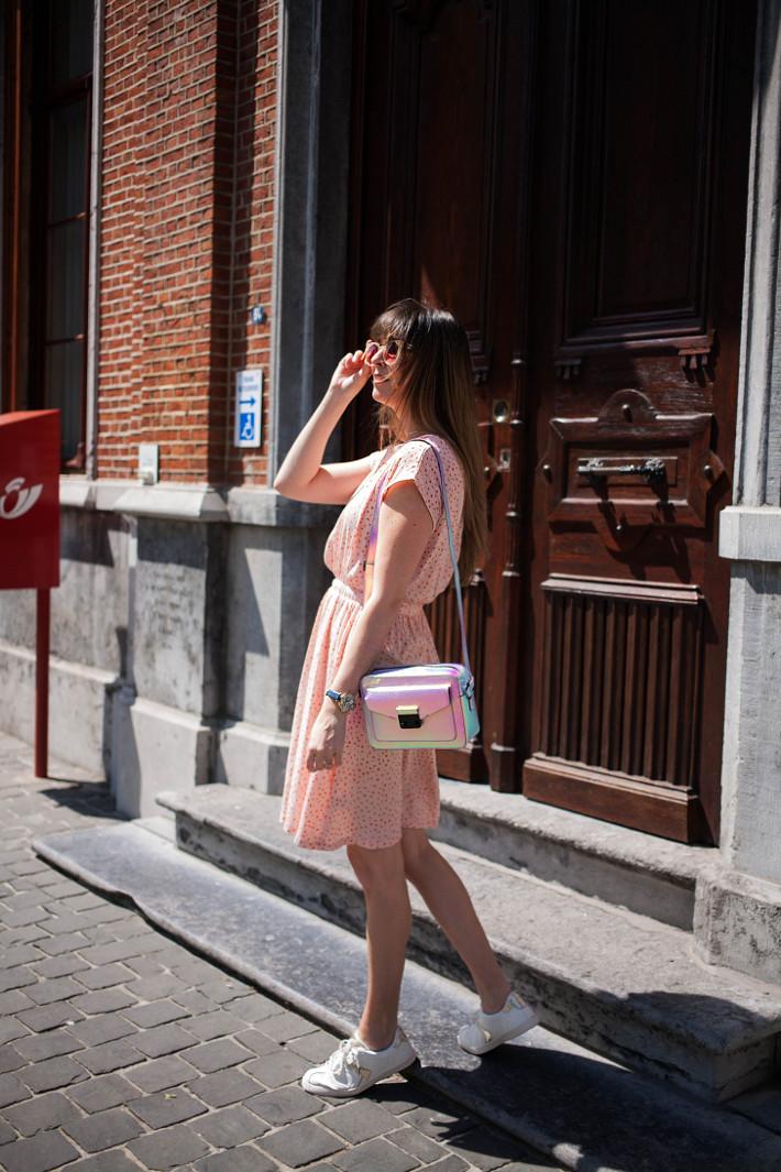 Outfit: pink dress, white kicks