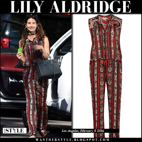 Lily Aldridge in red paisley print jumpsuit isabel marant tad what she wore model style