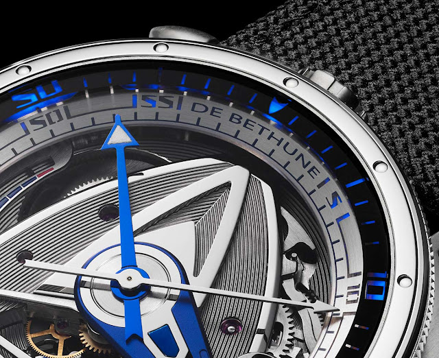 De Bethune DB28 GS Grand Bleu, detail of the bezel