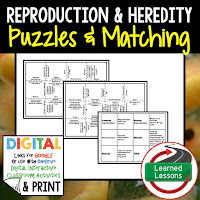 Reproduction, Heredity, Life Science Puzzles, Life Science Digital Puzzles, Life  Science Google Classroom, Vocabulary, Test Prep, Unit Review