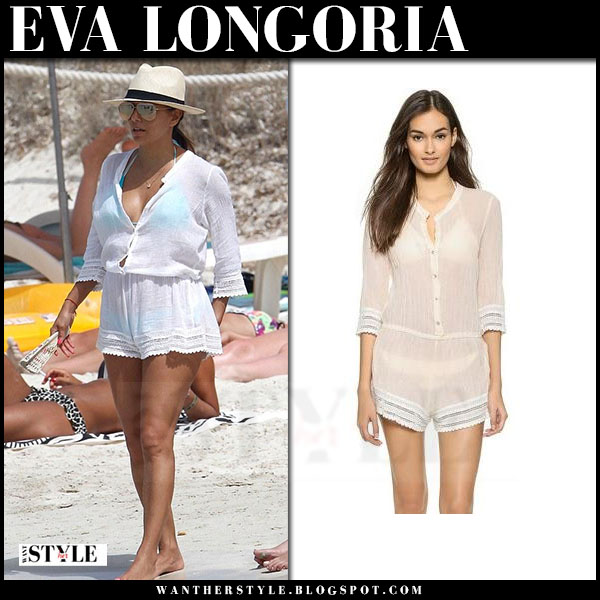 Eva Longoria in white romper beach cover up eberjey what she wore