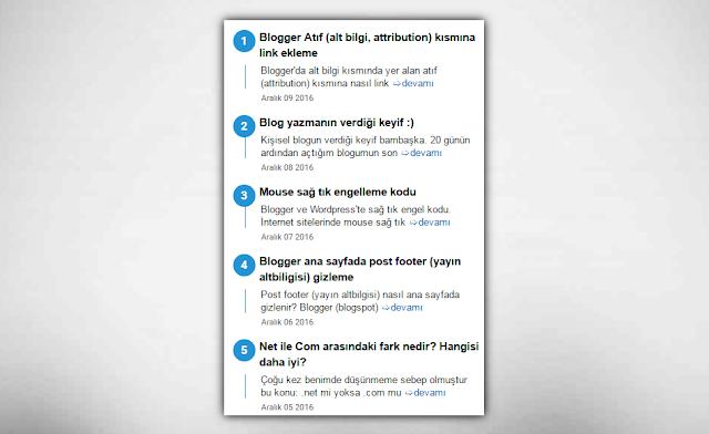 Son yayınlar eklentisi (widget)