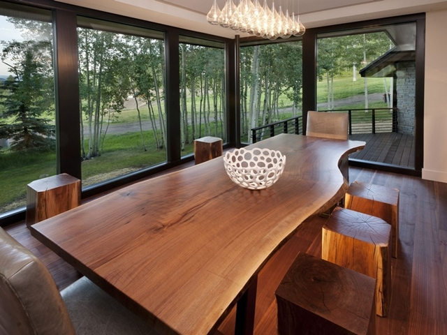 Picture of dinning room with wooden furniture