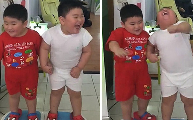 Hai cậu bé ẵm triệu view chỉ với đoạn clip đứng... rung lắc trên máy tập thể dục