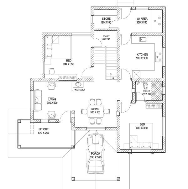 PLAN & 3D KERALA STYLE HOME